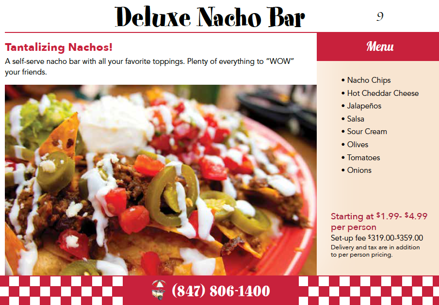 Nacho Bar Catering Menu