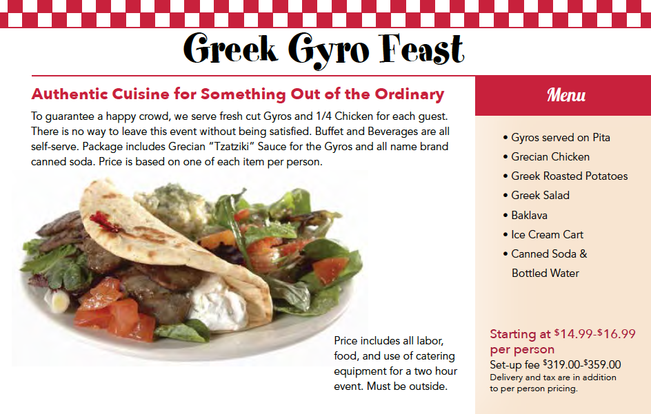 Greek Catering Menu Chicago
