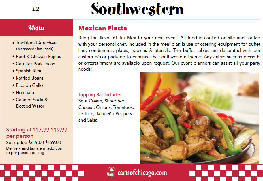 Mexican Fiesta Catering Menu Chicago
