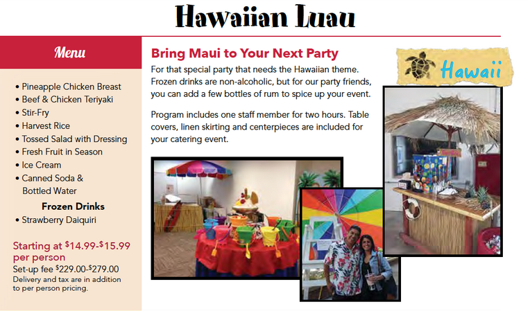 hawaiian luau catered menu package