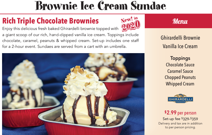 catered brownie sundaes