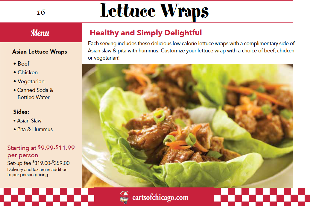 asian lettuce wraps catered menu package chicago