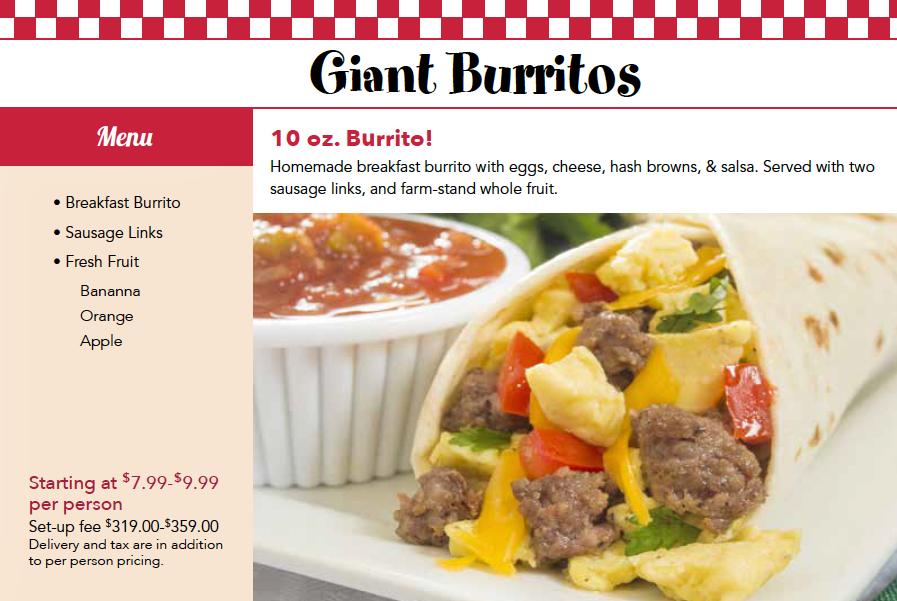 Breakfast Burrito Catering Menu Chicago