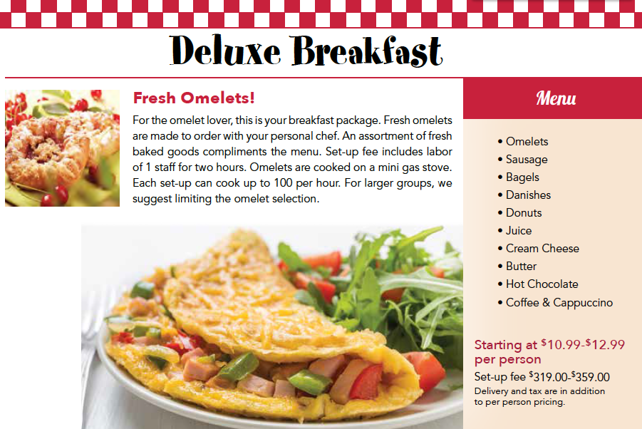 2018 Breakfast Omelet Catering Menu Chicago