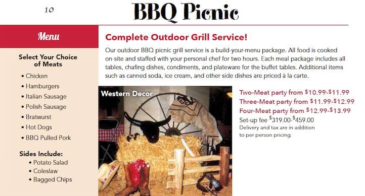 Catered Picnic Build Your Own Menu