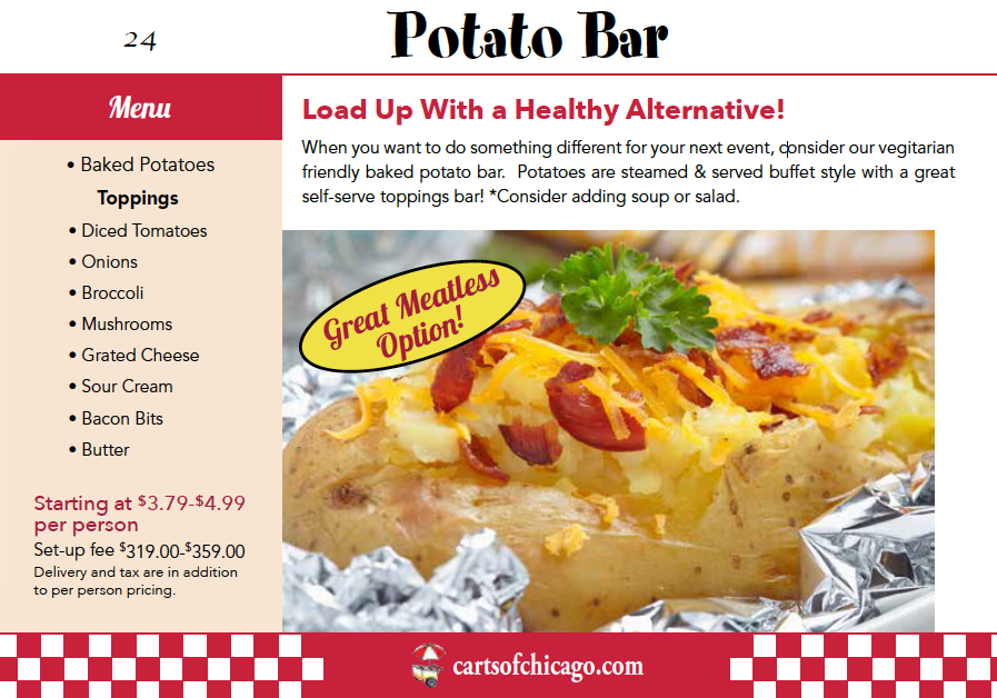 Vegetarian Potato Bar Catering Package Chicago