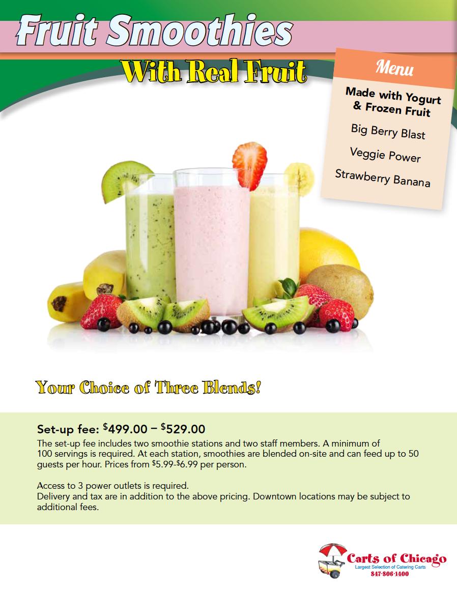 2019 Fruit Yogurt Smoothies Catering Menu Chicago
