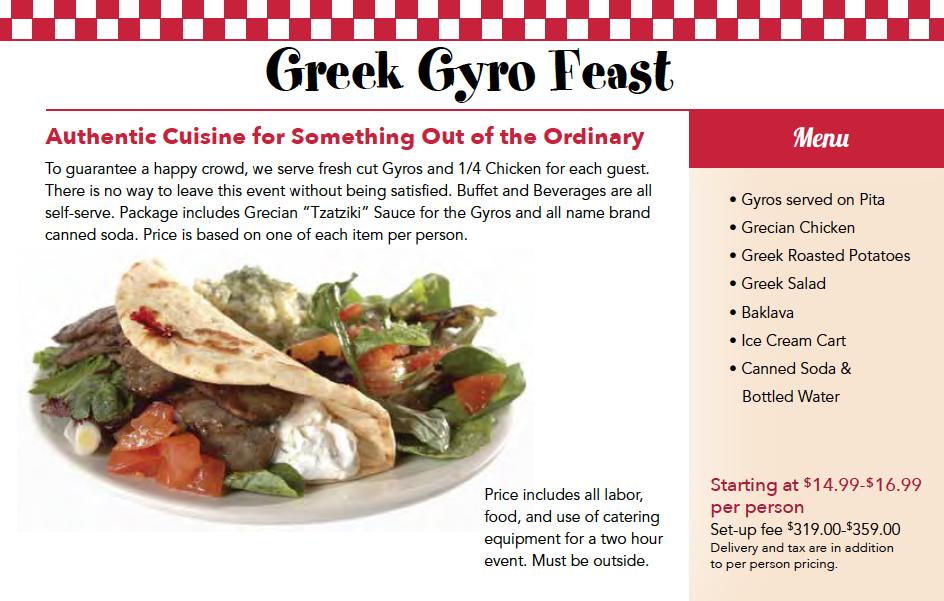 Greek Catering Menu Chicago