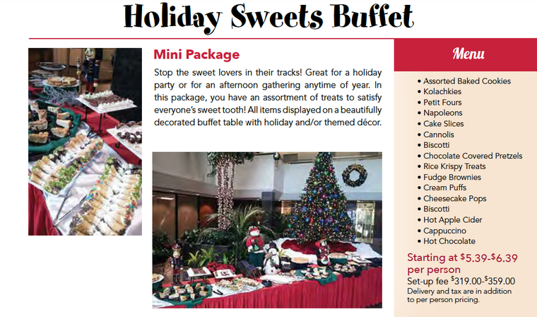 Chicago holiday sweets buffet catering package