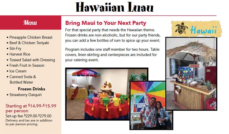 hawaiian luau catered menu package