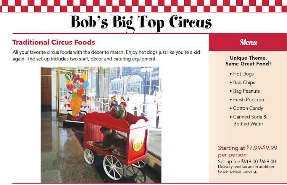 Kids Birthday Party Circus Theme Catering Package