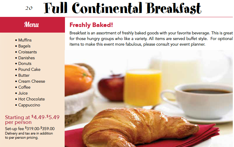 Full Continental Breakfast Catering