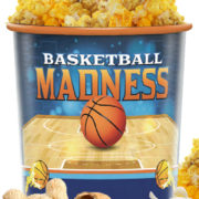 basketball cup filled with popcorn