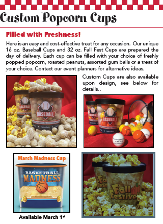 Popcorn, Peanuts and/or Gumballs Event Cups (16/32oz)